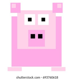 Vector pig are made of squares and rectangles