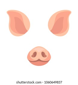 Cartoon animal face items pig ears stock vector royalty free vector pig nose and ears funny template for photos design decorative element maxwellsz