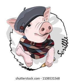 Vector pig with pencil, hat and scarf. Hand drawn illustration of dressed pig. Swine-artist.