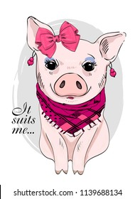 Vector pig with pink bow, earring, scarf and make-up. Hand drawn illustration of dressed piggy.