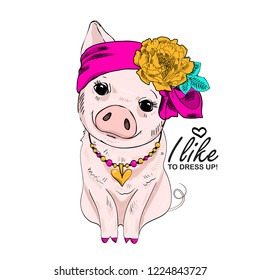 Vector pig with pink bow, necklace and yellow flower. Hand drawn illustration of dressed piggy. Fashion pig-girl.