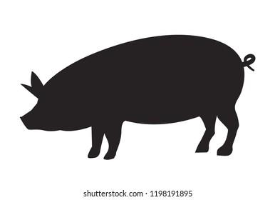 Vector pig silhouette side retro vintage template. Pork animal icon background. Pig farm.