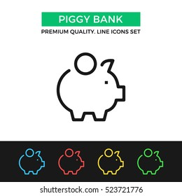 Vector piggy bank icon. Savings, economy concept. Premium quality graphic design. Modern signs, outline symbols collection, simple thin line icons set for website, web design, mobile app, infographics