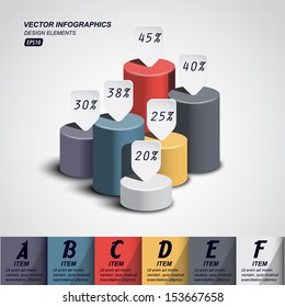 vector pillars with your indicators / business infographics template