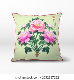 Vector pillow. Peony flowers on backdrop with imitation of sachiko embroidery.