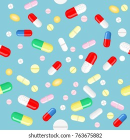 Vector pills and capsules in different colors, shapes and sizes, isolated elements. Seamless background, pattern