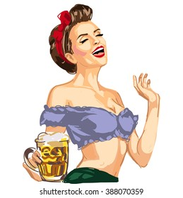 vector pin up girl waitress hanging beer