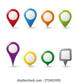 Vector pin map icon mark symbol location colorful 3d collection