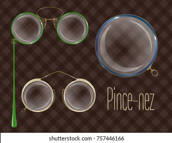 Vector pince-nez and monocle. Isolated clip art. Modern and vintage style.