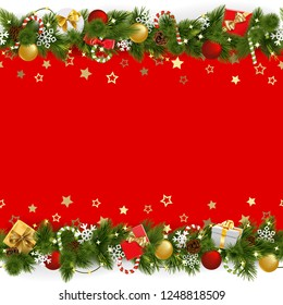 Vector Pine Christmas Background with Garland isolated on white background
