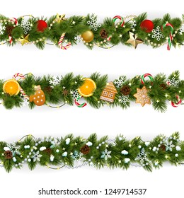 Vector Pine Christmas Border isolated on white background