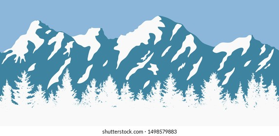 vector pine forest background pattern. abstract blue and white panorama of nature landscape with evergreen coniferous trees and mountain silhouettes. christmas woodland illustration with tree woods