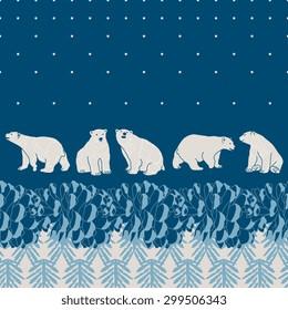 Vector pine forest card with polar bears
