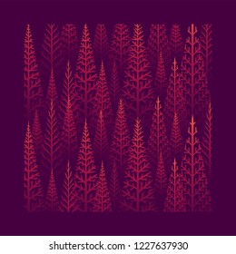 Vector pine tree forest illustration. Abstract vector pattern.