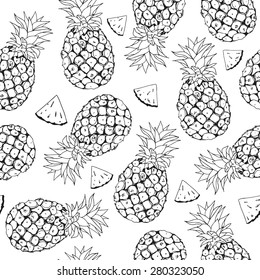 Vector pineapple background, summer seamless pattern, handdrawn tropical illustration on white