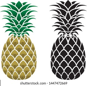 Vector pineapple illustration and flat black icon
