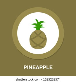 vector pineapple illustration, healthy tropical fruit symbol