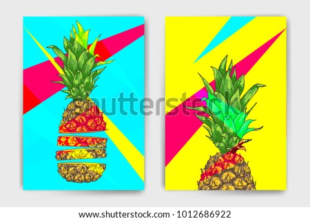 Vector pineapple mock up set. Colorful design with ananas for cover, brochure or print template. Easy to use and modify, created using clipping mask