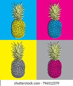 Vector pineapple pop art