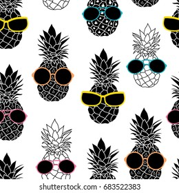 Vector pineapples wearing colorful sunglasses summer vacation tropical seamless pattern. Great for vacation themed fabric, wallpaper, packaging.