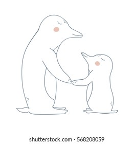Vector pinguin - mother and child