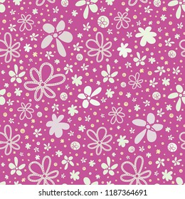 Vector pink abstract floral seamless pattern background. Perfect for fabric, scrapbooking, giftwrap,  wall paper projects, stationery,