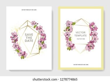 Vector Pink apple blossom botanical flower. Wild spring leaf isolated. Engraved ink art. Wedding background card floral decorative border. Invitation elegant card illustration graphic set banner.