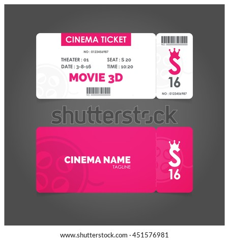 vector pink background movie ticket invitation stock vector royalty