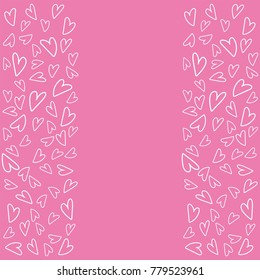 Vector pink background with white hearts.  Perfect for holiday flat design. Love background heart shapes texture pattern for valentine day