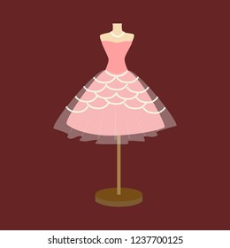 Vector of pink ball gown on mannequin. Illustration on maroon background. Vector fashion illustration.