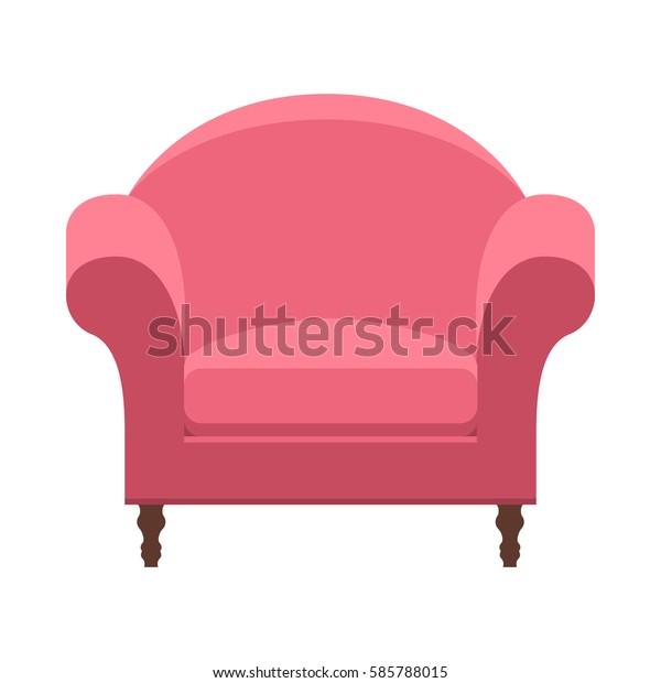Vector Pink Barrel Chair Armchair Cartoon Stock Vector Royalty Free 585788015
