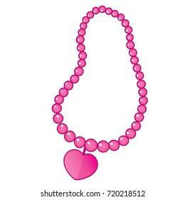 Vector pink beaded necklace with heart shape pendant. Necklace with pendant vector illustration