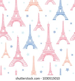 Vector Pink Blue Eifel Tower Paris and Flowers Seamless Repeat Pattern Surrounded By Stars. Perfect for travel themed postcards, greeting cards, invitations, packaging.