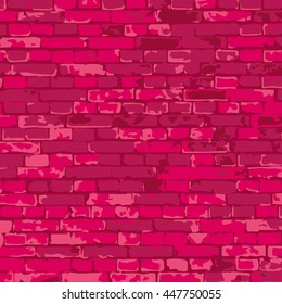 vector pink brick wall texture illustration, brick wall pattern. EPS