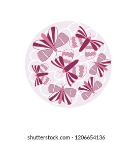 Vector Pink Butterflies Placement Print. Perfect for Fabric, Wallpaper, Websites and scrapbooking projects.