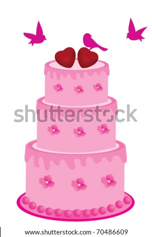 Vector Pink Cake Flowers Birds Hearts Stock Vector Royalty Free