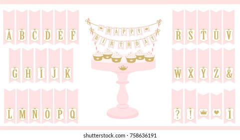 Vector pink cake stand with cupcakes. Set of printable letters cake bunting. Mini flags can use for decoration princess party( birthday, baby and bridal shower, wedding). Royal Happy Birthday card.