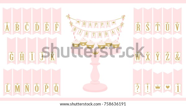 Vector Pink Cake Stand Cupcakes Set Stock Vector Royalty Free 758636191