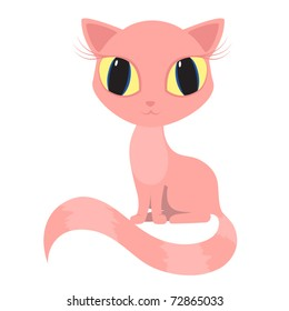 Vector pink cat kitty pussicat sits big eyes stripped tail.