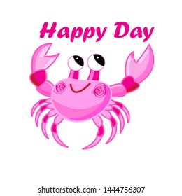 Vector pink crab illustration cartoon image on white background