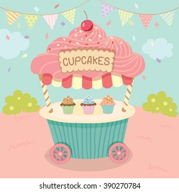 Vector pink cupcake push cart on blue background party.Pastel color cute style.