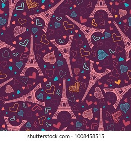 Vector Pink Eifel Tower Paris Seamless Repeat Pattern Surrounded By St Valentines Day Hearts Of Love. Perfect for travel themed postcards, greeting cards, wedding invitations.
