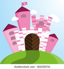 Vector pink fairy tale castle for princess.
