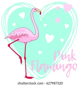 Vector pink flamingo bird illustration. Hand drawn sketch with the wild animal. Romantic Valentines day illustration