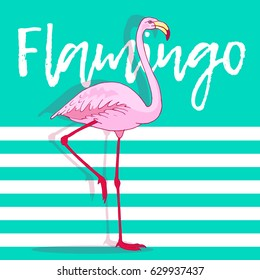 Vector pink flamingo bird illustration. Hand drawn sketch with the wild animal on abstract striped background