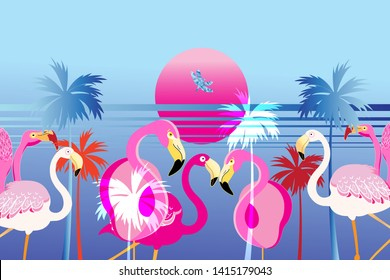 Vector pink flamingos on a tropical island with the sun