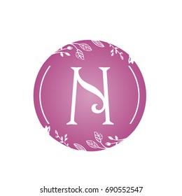 Vector Pink Florist Single Letter N Logo