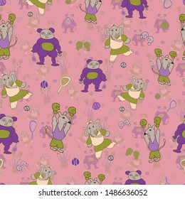 Vector pink fun, energetic sporty anthropomorphic cartoon characters seamless pattern background