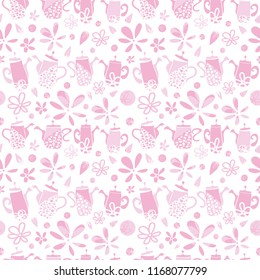 Vector pink garden tea party geometric seamless pattern background. Perfect for fabric, scrapbooking, giftwrap, wall paper projects, stationary, quilting