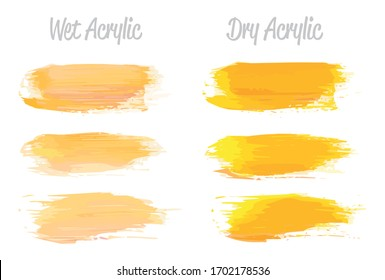 Vector pink and gold paint smear stroke stain set. Abstract gold glittering textured art illustration. Gold Texture Paint Stain Illustration. Hand drawn brush strokes vector elements. Acrylic strokes.